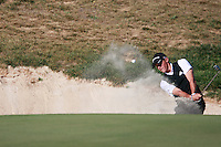 Lorenzo Gagli (ITA) chips out of s bunker at the 17th green during Sunday's Final Round of the Bankia Madrid Masters at El Encin Golf Hotel, Madrid, Spain, 9th October 2011 (Photo Eoin Clarke/www.golffile.ie)