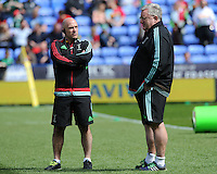 Mark Mapletoft, Harlequins Backs Coach, speaks with John Kingston, Harlequins Head Coach, ahead of the Aviva Premiership match between London Irish and Harlequins at the Madejski Stadium on Sunday 1st May 2016 (Photo: Rob Munro/Stewart Communications)