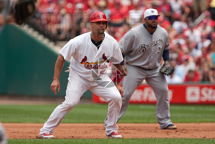 July 4, 2010          St. Louis Cardinals first baseman Albert Pujols (5) and Milwaukee Brewers first baseman Prince Fielder (28) watch the batter.  The St. Louis Cardinals defeated the Milwaukee Brewers 7-1 in the final game of a four-game homestand at Busch Stadium in downtown St. Louis, MO on Sunday July 4, 2010.