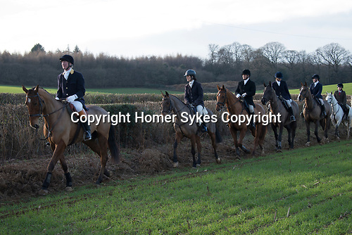 Chiddingfold Leconfield and Cowdray Hunt, New Years Day Midhurst West Sussex 2019. Charles Robers of shooting stick.