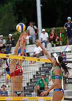 Switzerland's Joana Heidrich, left, in action against Brazil's Talita Antunes at the Beach Volleyball World Tour Grand Slam, Foro Italico, Rome, 22 June 2013. Brazil defeated Switzerland 2-1.<br /> UPDATE IMAGES PRESS/Isabella Bonotto