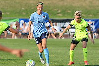 Piscataway, NJ - Sunday June 19, 2016: Sarah Killion Jess Fishlock during a regular season National Women's Soccer League (NWSL) match between Sky Blue FC and Seattle Reign FC at Yurcak Field.
