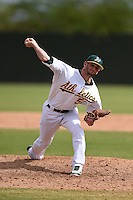 Oakland Athletics pitcher Kyle Finnegan (51) during an Instructional League game against the San Francisco Giants on October 15, 2014 at Papago Park Baseball Complex in Phoenix, Arizona.  (Mike Janes/Four Seam Images)