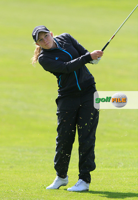 Cloe Frankish (ENG) on the 18th fairway chips in for an Eagle during Round 3 of The Irish Girls Open Strokeplay Championship in Roganstown Golf Club on Sunday 19th April 2015.<br /> Picture:  Thos Caffrey / www.golffile.ie