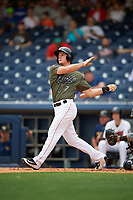 Nashville Sounds third baseman Matt Chapman (7) at bat during a game against the New Orleans Baby Cakes on April 30, 2017 at First Tennessee Park in Nashville, Tennessee.  The game was postponed due to inclement weather in the fourth inning.  (Mike Janes/Four Seam Images)