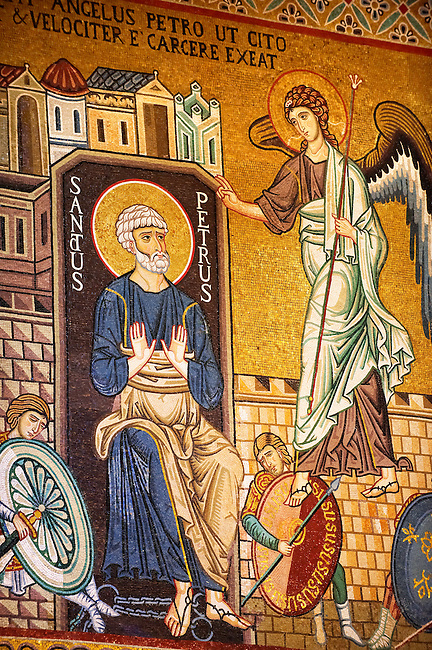 Byzantine mosaics at the Palatine Chapel ( Capella Palatina ) Norman Palace Palermo, Sicily, It. Saint Peter and the Archangel.