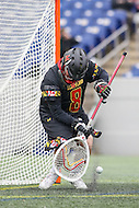 Annapolis, MD - February 11, 2017: Maryland Terrapins Dan Morris (8) blocks a shot during game between Maryland vs Navy at  Navy-Marine Corps Memorial Stadium in Annapolis, MD.   (Photo by Elliott Brown/Media Images International)