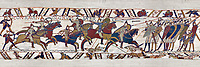 11the Century Medieval Bayeux Tapestry - Scene 51 William encourages his soldiers into battle. Battle of Hastings 1066