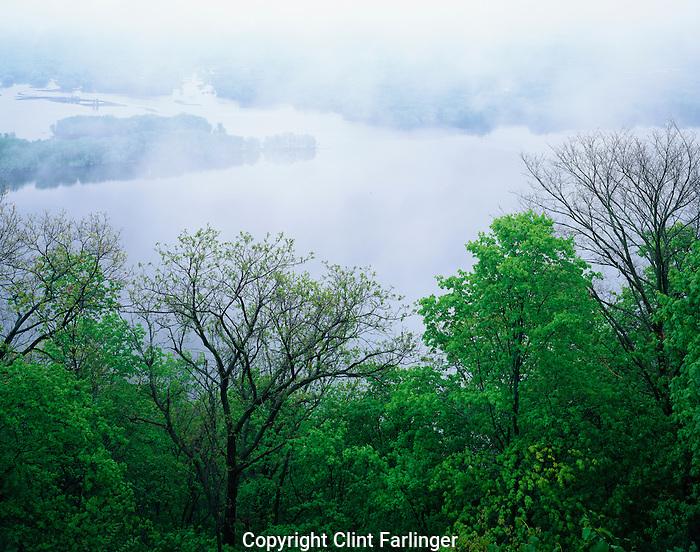 Mississippi River and fog, Upper Mississippi River National Fish and Wildlife Refuge and Great River State Park, Minnesota