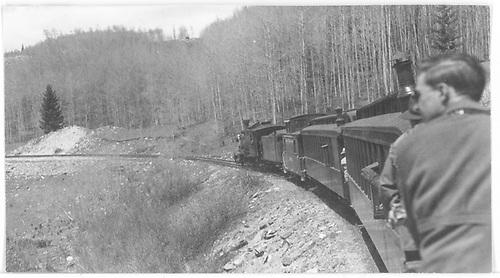 Rocky Mountain Railroad Club RGS excursion train on left curve below Matterhorn.<br /> RGS  Matterhorn, CO  Taken by Maxwell, John W. - 5/31/1947