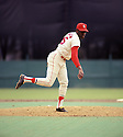 St. Louis Cardinals Bob Gibson (45) during a game  from his 1969 season with the St. Louis Cardinals. Bob Gibson  played for 17 years, all with the St. Louis Cardinals. Bob Gibson was a 8-time All-Star, 1968 National League MVP, 1968 and 1970 Cy Young Award winner and was inducted to the Baseball Hall of Fame in 1981.