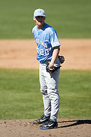 Garrett Davis (20) of the North Carolina Tar Heels looks in to his catcher for the sign versus the St. John's Red Storm at the 2008 Coca-Cola Classic at the Winthrop Ballpark in Rock Hill, SC, Sunday, March 2, 2008.