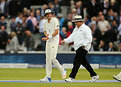 7th September 2017, Lords Cricket Ground, London, England; International Test Match Series, Third Test, Day 1; England versus West Indies; England's Stuart Broad shares a joke with the umpire as the teams make their way back on to field after a rain shower stopped play