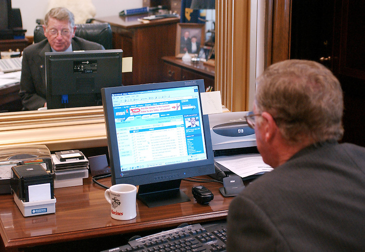 5/20/03.SPAM--Sen. Conrad Burns, R-Mont., checks his personal email account in his Dirksen office; of 50 new emails since he last checked in the last day, only two messages were from sources he recognized..CONGRESSIONAL QUARTERLY PHOTO BY SCOTT J. FERRELL