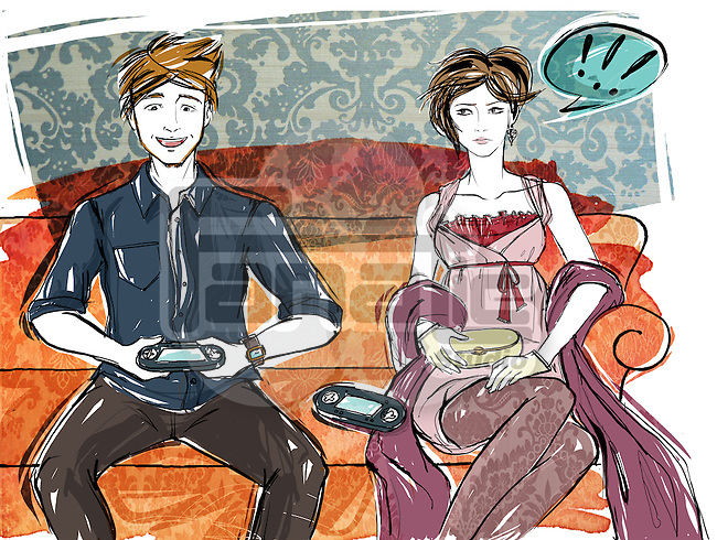 Illustration of angry woman looking at man playing video game on sofa