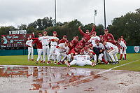 Stanford, CA - March 10, 2019: Stanford Baseball vs Texas in the final game of the series at Sunken Diamond.  Stanford won 9-0, after the game was called for rain in the seventh inning.