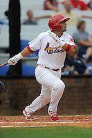 Designated hitter Jose Godoy (25) of the Johnson City Cardinals bats in a game against the Elizabethton Twins on Sunday, July 27, 2014, at Howard Johnson Field at Cardinal Park in Johnson City, Tennessee. The game was suspended due to weather in the fifth inning. (Tom Priddy/Four Seam Images)