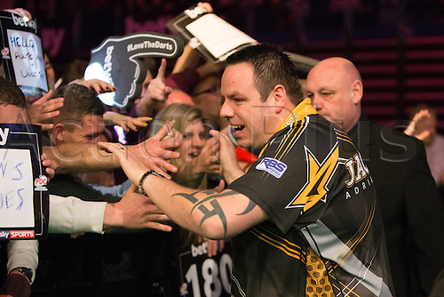 28.04.2016. Barclaycard Arena, Birmingham, England. Betway PDC Premier League Darts. Night 13. Adrian Lewis meets his fans.