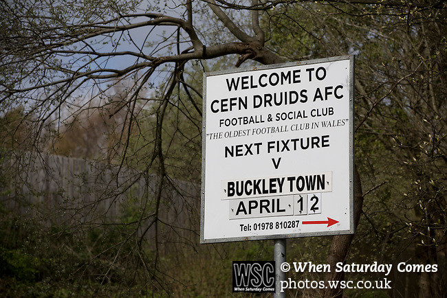 Cefn Druids AFC 1 Buckley Town 0, 12/04/2014. The Rock, Cymru Alliance league. An advertising sign outside The Rock, Rhosymedre, home to Cefn Druids AFC, prior to the club's final home game of the season against Buckley Town in the Cymru Alliance league. Druids, reputedly the oldest football club in Wales, won the Alliance league the previous week and were awarded the trophy after the Buckley Town match, which they won by 1 goal to nil, watched by a crowd of 246. The Cymru Alliance was the second tier of Welsh football based in north and mid Wales, promotion from which led directly into the Welsh Premier League. Photo by Colin McPherson.