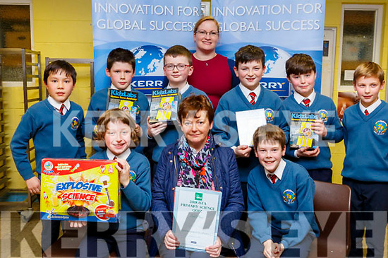 QUIZ BUFFS: Scoil Eoin Balloonagh were runners up in the ISTA Primary Schools Annual Science Quiz in the IT Tralee South Campus on Thursday night, seated l-r: Fionnan Ryan, Rena O'Connell (teacher) and Jack Costello. Standing l-r: Kai Seino, David Slattery, Tadgh Moran, Triona Horan, Luke Flynn, Sean Morris and Louis Py.