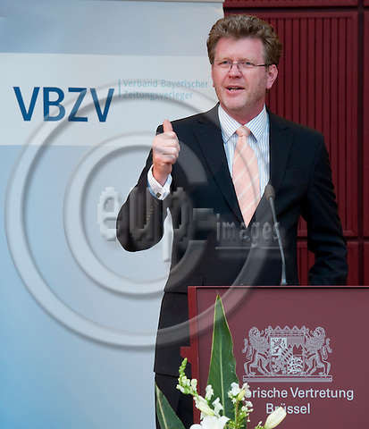 Brussels-Belgium - May 30, 2011 -- Annual Conference of the Bavarian Newspaper Publishers (VBZV - Verband Bayerischer Zeitungsverleger e.V.) at the Representation of the Free State of Bavaria to the EU; here, during his closing speech: Dr. Marcel HUBER, Minister at the Bavarian State Chancellery -- Photo: Horst Wagner / eup-images