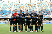 San Jose, CA - Saturday August 25, 2018: San Jose Earthquakes Starting Eleven prior to a Major League Soccer (MLS) match between the San Jose Earthquakes and Vancouver Whitecaps FC at Avaya Stadium.