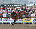 Cody Wright, Medicine Woman, Cody PRCA rodeo, 7/4 perf. Photo by Andy Watson. All Photos (C) Watson Rodeo Photos, INC. Any use must have written Permission.