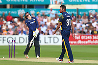 Michael Hogan of Glamorgan celebrates taking the wicket of Daniel Lawrence during Essex Eagles vs Glamorgan, NatWest T20 Blast Cricket at The Cloudfm County Ground on 16th July 2017