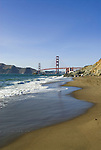 San Francisco: Baker Beach with Golden Gate Bridge in background.  Photo # 2-casanf83772.  Photo copyright Lee Foster