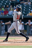 Third baseman Kurt Hoekstra (16) of the Rome Braves bats in a game against the Columbia Fireflies on Sunday, July 2, 2017, at Spirit Communications Park in Columbia, South Carolina. Columbia won, 3-2. (Tom Priddy/Four Seam Images)