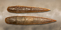 Brown obsidian dagger blades. Catalhoyuk Collections. Museum of Anatolian Civilisations, Ankara