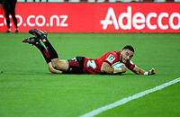 Bryn Hall forces a 22 dropout during the Super Rugby match between the Hurricanes and Crusaders at Westpac Stadium in Wellington, New Zealand on Saturday, 10 March 2018. Photo: Dave Lintott / lintottphoto.co.nz
