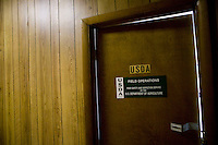 View of the door of the office of the USDA representative at the Hudson Valley Foie Gras farm in Ferndale, USA, 16 March 2006.