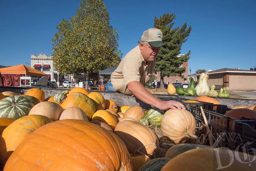 NWA Democrat-Gazette/J.T. WAMPLER Bill Harp of Clifty arranges pumpkins for sale Wednesday Oct. 14, 2015 at the Rogers Farmers Market. The market is moving to the Frisco Station Mall the first Saturday in November and will be year-round with indoor space available for the winter months.
