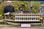 Hempstead, New York, U.S. - May 4, 2014 - A large Mississippi Riverboat display model, built by Anthony DiCosimo, is on display at the 31st Annual Dutch Festival, outdoors on the South Campus of Hofstra University. The Long Island tradition had tulips growing through the campus, entertainment, activities, a plant sale, and more.