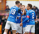 07.04.2019 Motherwell v Rangers: Scott Arfield takes the acclaim