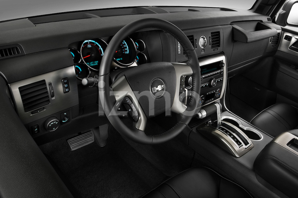 High angle dashboard view of a  2008 Hummer H2 SUV