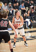 #44 Midori McElwee. The Occidental College women's basketball team take on Chapman University in Rush Gym, Jan. 12, 2016.<br /> (Photo by Marc Campos, Occidental College Photographer)