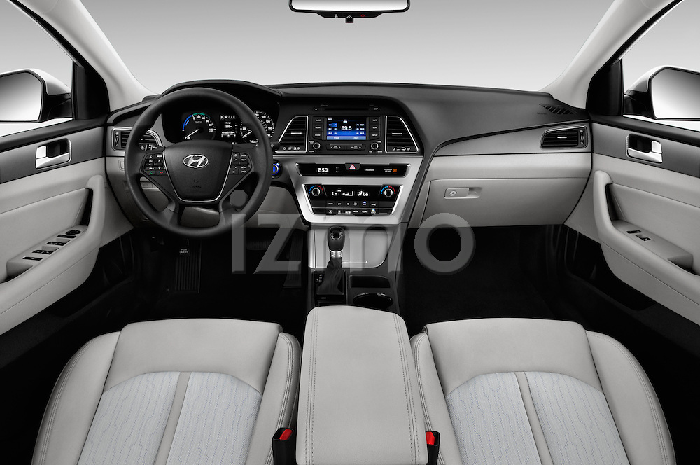 Stock photo of straight dashboard view of 2016 Hyundai Sonata Hybrid SE 4 Door Sedan Dashboard