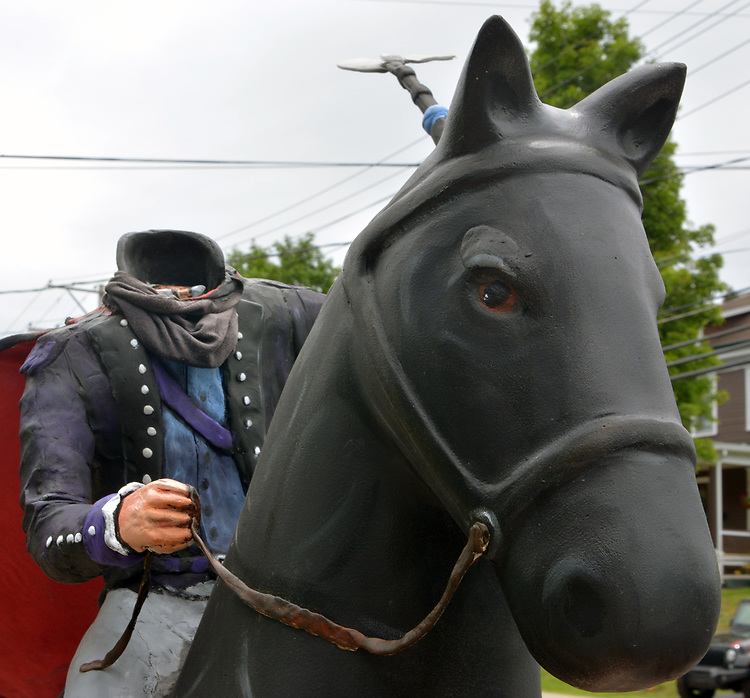 """A view of """"Headless Horseman"""" created by artist, Richard Gamache, one of the """"Rockin' Around Saugerties"""" theme Statues on display throughout the Village of Saugerties, NY, on Sunday, June 4, 2017. Photo by Jim Peppler. Copyright/Jim Peppler-2017."""