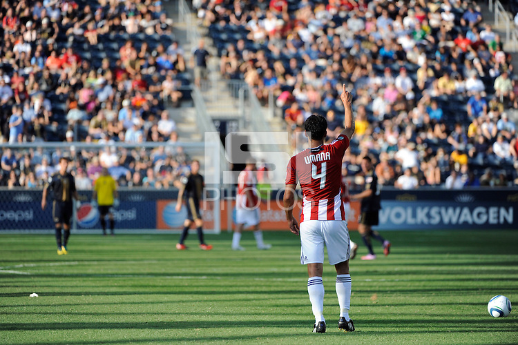 Michael Umana (4) of CD Chivas USA about to take a free kick. The Philadelphia Union defeated CD Chivas USA 3-0 during a Major League Soccer (MLS) match at PPL Park in Chester, PA, on September 25, 2010.