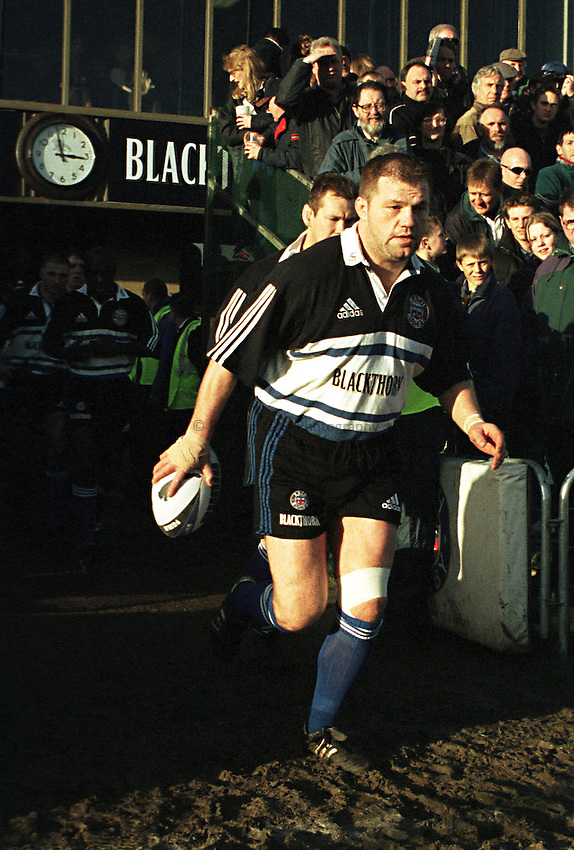 Photo. Richard Lane. Bath v Newcastle Falcons. 16/1/99..Richard Webster leads out Bath ..