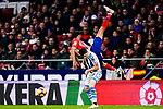 Diego Costa of Atletico de Madrid (L) fights for the ball with Igor Zubeldia of Real Sociedad (R) during the La Liga 2018-19 match between Atletico de Madrid and Real Sociedad at Wanda Metropolitano on October 27 2018 in Madrid, Spain.  Photo by Diego Souto / Power Sport Images