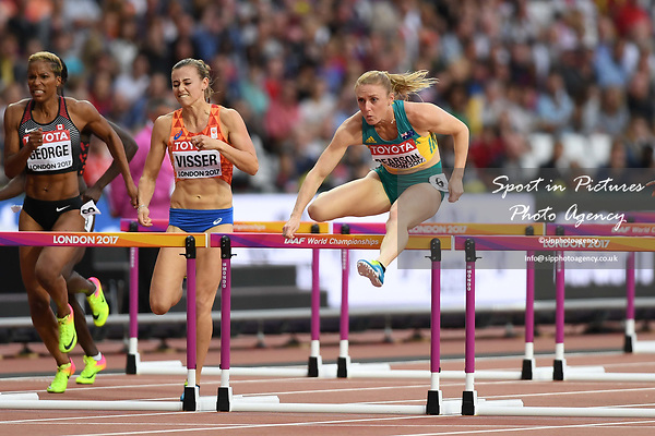 Sally PEARSON (AUS) in the womens 100m hurdles semi-final. IAAF world athletics championships. London Olympic stadium. Queen Elizabeth Olympic park. Stratford. London. UK. 11/08/2017. ~ MANDATORY CREDIT Garry Bowden/SIPPA - NO UNAUTHORISED USE - +44 7837 394578