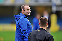 Bath Rugby first team coach Darren Edwards looks on during the pre-match warm-up. Aviva Premiership match, between Bath Rugby and Worcester Warriors on December 27, 2015 at the Recreation Ground in Bath, England. Photo by: Patrick Khachfe / Onside Images