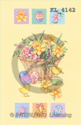 Interlitho, Andrea, EASTER, paintings, flowers, chicken(KL4142,#E#) Ostern, Pacua, illustrations, pinturas