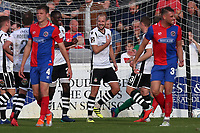 Luke Summerfield of Wrexham scores the second goal for his team from the penalty spot and celebrates during Dagenham & Redbridge vs Wrexham, Vanarama National League Football at the Chigwell Construction Stadium on 13th October 2018