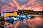 Sunset, fishing boats at Nova Scotia, Canada