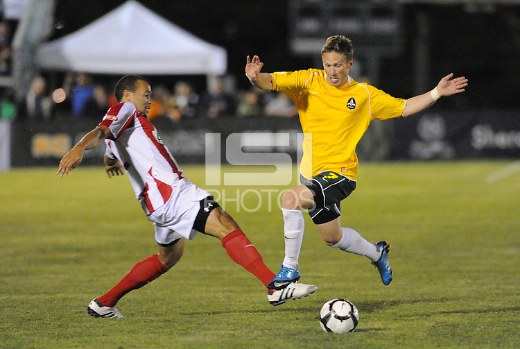 Leonard Griffin (red), Luke Kreamalmeyer...AC St Louis were defeated 1-2 by Austin Aztek in their inaugural home game in front of 5,695 fans at Anheuser-Busch Soccer Park, Fenton, Missouri.