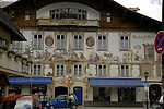 Mural painted on wall showing ornate artwork. Oberammergau, Bavaria, Germany.